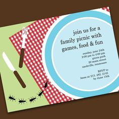 Company Picnic Invitations Kid Nice And Colors