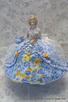 Vintage porcelain half doll pin cushion-ebay