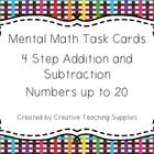 This activity contains 24 Mental Math Task Cards using addition and subtraction, while using numbers to Students start with the start number an. Math Task Cards, Anzac Day, Addition And Subtraction, Curriculum, Numbers, How To Get, Promotion, Half Price, Activities