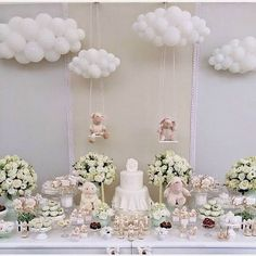 Baby Shower Balloon Clouds Baby Shower Birthday New Baby Decoration Communion, Party Decoration, Cloud Decoration, Baby Shower Table Decorations, Basket Decoration, Baptism Party, Baby Party, Baby Baptism, Shower Bebe