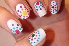 Fun Multicolored Dot Designs on White Polish