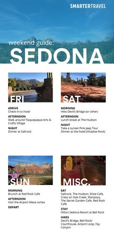 """Famous for its red rocks landscape and known as the """"Day Hike Capital of the World"""", Sedona is a popular destination for a weekend getaway. Arizona Road Trip, Arizona Travel, Sedona Arizona, Sedona Spa, Oh The Places You'll Go, Places To Travel, I Want To Travel, Future Travel, Weekend Trips"""