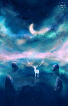 A shrine to all things fantasy with some science fiction involved as well as fan art and mythology. Luna Anime, Fantasy Landscape, Fantasy Art, Deer Art, Oeuvre D'art, Les Oeuvres, Totoro, Concept Art, Original Art