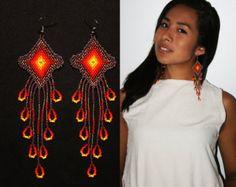 Dangling Native Earrings, Native American Beaded Earrings, Beaded Huichol Earrings, Eye of God Earrings, Seed Bead Earrings, Long Earrings