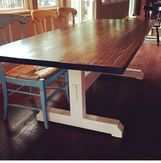 Trestle Style Farmhouse Table Stained In Minwax Dark Walnut With Heirloom White On The Base