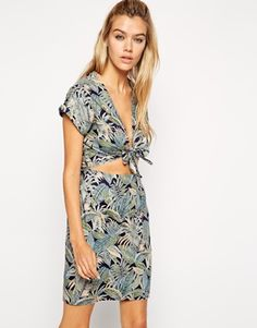 ASOS Reclaimed Vintage Dress With Tie Front In Washed Tropical Print