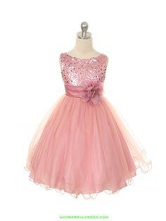 Rose Elegant Stunning Sequined Bodice Girl Dress