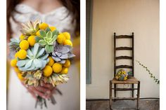 a stunning use of succulents in a wedding bouquet!