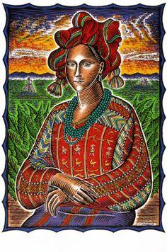 """""""Mona Maya"""" by David Moreno. Screen print, 2000. #Latino #art #serigraphy"""