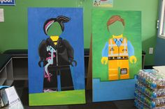 LEGO kids birthday party - wood Lego cut outs