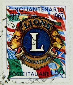 stamp Italy timbre Italie 50 Lire postage Lions International Lions Club selo sello Italia francobolli почтовая марка Италия pullar İtalya 邮票 义大利 Briefmarken Italien by stampolina, via Flickr