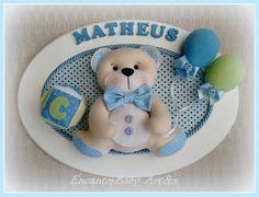 Quadro porta Maternidade ursinho, tamanho 26 x 36 cm , forrado com tecido, ursinho em feltro , letras em MDF, linda peça para decorar o quartinho, o nome do bebê pode ser trocado !!!!!!!