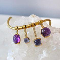 Amethyst, Iolite, and Tourmaline arm candy  bracelet handmade by Ricardo Basta Fine Jewelry