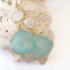 Aqua Stone Earrings, Resort Jewelry, Fall Fashion Trends by Aina Kai   http://www.etsy.com/shop/AinaKai