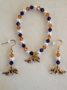 LSU Bracelet and earrings