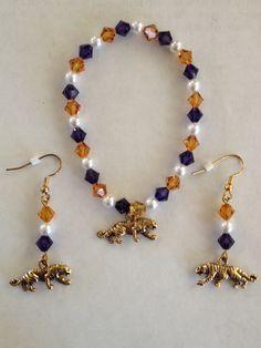LSU Bracelet and earrings