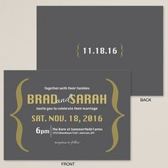 Our exclusive Boldly Stated wedding invitation is modern and artistic with emphasis on the bride's and groom's names and wedding date.