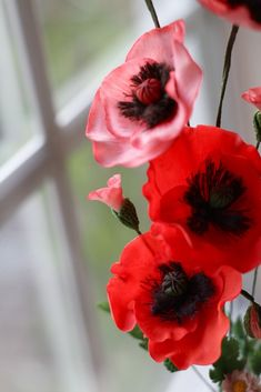 Gentle poppies from a cold porcelain