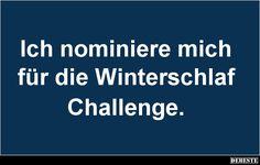 Ich nominiere mich für die Winterschlaf Challenge. | Lustige Bilder, Sprüche, Witze, echt lustig