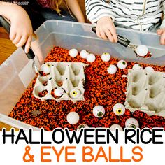 Halloween Rice Bin with Eye Balls