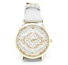 Amazon.com  Hitop NEW Fashion Rhinestones Geometric Pattern Leather Women  Girl Quartz Watch Mint Gray  Watches 17f94bf87f
