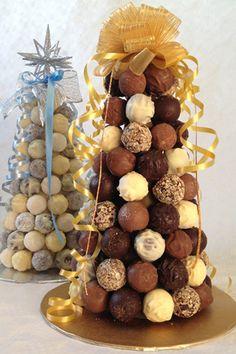 Belgian Chocolate and White Chocolate Truffle Trees Up Close