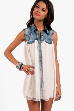 Soft and Denim Dress $30 at www.tobi.com