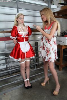 Maid gagged and french up tied