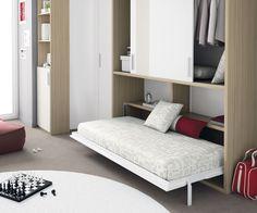 """Habitación juvenil del catálogo de mueble juvenil """"Kids Up2"""" de Muebles Ros. Cama abatible."""