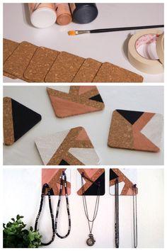 Bricolage Halsketten aufbewahren mit Kork DIY-Ketten-Aufbewahrung-Kork-Miss-Konfetti # Diy Tumblr, Room Deco, Diy Collier, Diy Confetti, Diy Jewelry Unique, Diy Simple, Diy Jewelry Inspiration, Diy Coasters, Diy Couture