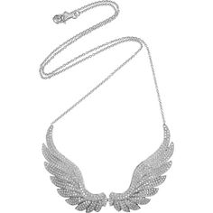 Anita Ko Wings 18-karat white gold diamond necklace ($16,695) ❤ liked on Polyvore featuring jewelry, necklaces, accessories, colares, wings, hook necklace, white gold diamond necklace, wing pendant necklace, pendant necklace and diamond wing necklace