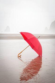 Beach Photography, The Red Umbrella, RED, Summer Photograph, Summer Rain, Cool, Misty, Fog, Beach, Ocean Photograph, Cannon Beach Oregon