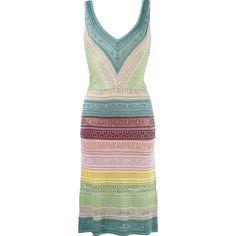 Cecilia Prado striped knit dress (230 AUD) ❤ liked on Polyvore featuring dresses, multicolor, multi color dress, green striped dress, multi color striped dress, multi-color dress and v-neck dresses