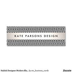 Stylish Designer Modern Black and White Pattern Double-Sided Mini Business Cards (Pack Of 20)