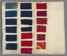 "Samples of dyed felt included with the manuscript for ""De la teinture des laines,"" prepared for the Descriptions des Arts et Métiers, ca. 1708-1764. Courtesy of Houghton Library, Harvard College Library. We have found all of these colors represented in various 18thc textile collections, trending according to taste and time period - Angela Burnley"