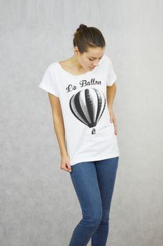 LE BALLON - Koszulka Oversize szeroki dekolt T-s