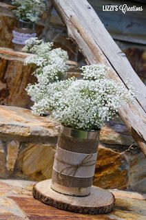 simple cans, burlap and baby's breath