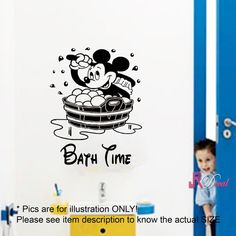 Disney Mickey Mouse CHILDREN BATH TIME Vinyl Sticker Wall Stickers Wall Art bathroom wall graphics M
