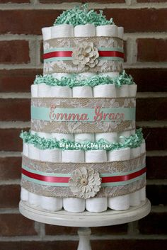 3 Tier Mint and Coral Shabby Burlap Diaper by BabeeCakesBoutique