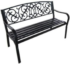 Black Metal Garden Bench Seat Outdoor Seating with Decorative Cast Iron Backrest:Amazon.co.uk:Garden & Outdoors