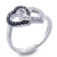 #Malakan #Jewelry - Silver Black Velvet Diamond Heart-Shaped Ring  55762A3 #BlackVelvetDiamond #BlackVelvetDiamonds #Heart #Hearts #Love
