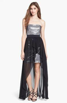 Aidan Mattox High/Low Chiffon Overlay Sequin Dress   Nordstrom brides maid to match tuxedos