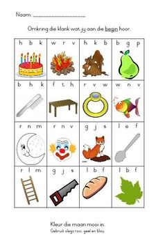 Begin klanke Printable Preschool Worksheets, 2nd Grade Worksheets, Preschool Learning Activities, Infant Activities, Kids Learning, Learning Resources, Moby Wrap, Afrikaans Language, Reading For Beginners