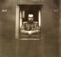 Iconic photo of Tsar Nicholas II at the window of the Imperial train in 1916.