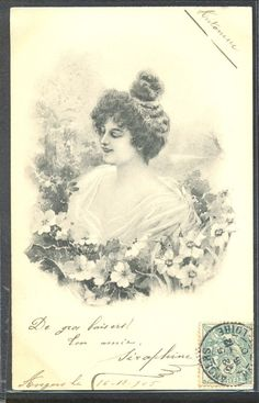 NT059 VIENNE Style BEAUTIFUL LADY veiled NAKED SHOULDERS NARCISSUS 1905