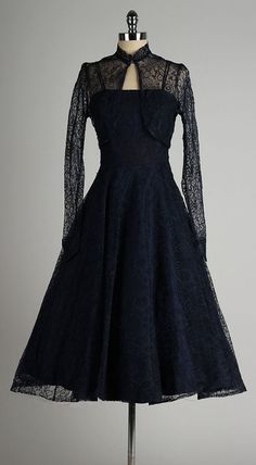 vintage 1950s dress . navy blue lace . sheer by millstreetvintage