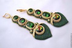 Серьги ручной работы. Ярмарка Мастеров - ручная работа. Купить Серьги Маюраттам (Majurattam). Handmade. Тёмно-зелёный, павлин