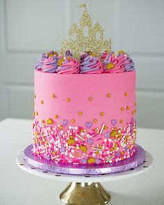 """""""I want a princess cake exactly like that one for my birthday!"""" My little ladies have a hard time watching these cakes go out the door all the time. I can't wait for the new year of birthdays and to be able to Cake for them! Pretty Cakes, Cute Cakes, Pink Birthday Cakes, 4th Birthday, Little Girl Birthday Cakes, Birthday Ideas, Birthday Cakes For Ladies, Little Girl Cakes, Bolo Moana"""