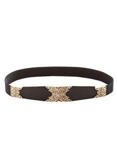 Filigree Finishing Touch Belt - Black, Gold, Solid