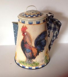 rooster coffeepot custom hand painted decoupage country